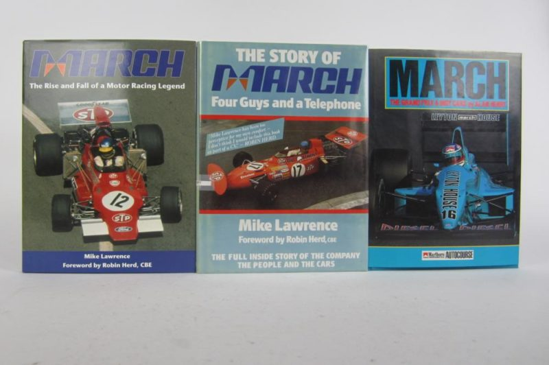 MARCH: Three hardcover books detailing the history of the March F1 team. With Max Mosley signature.